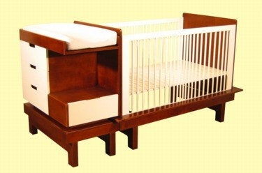 crib with attached changing table and drawer